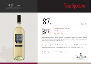 thumbnail of WINE SPECTATOR 87 pts Wine of The Day – Trebì 2014